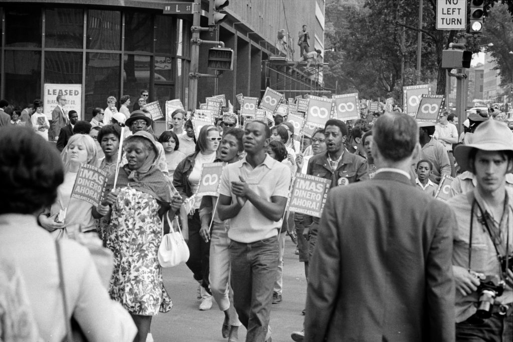 Demonstrators in the Poor People's March at Lafayette Park and Connecticut Avenue in Washington, D.C. (June 1968). Source Wikipedia/CC