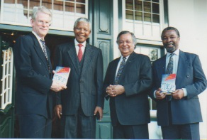 From left to right: Ingvar Carlsson, Nelson Mandela, Sir Shridath Ramphal, and Thabo Mbeki. Photo courtesy of Salma Hasan Ali.
