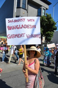 Protestors demonstrating in support of garment workers.  Photo courtesy of Steve Rhodes/Flickr.