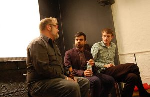"Filmmaker, Bassam Tariq (center), at a showing of ""These Birds Walk.""  Photo courtesy of UnionDocs/Flickr."