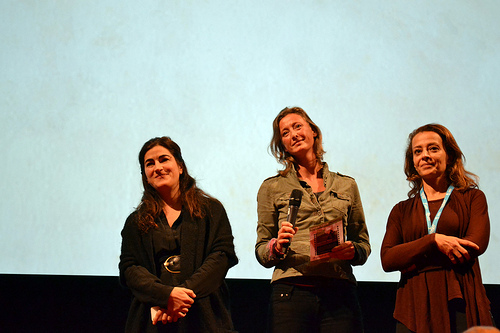 Jehane Noujaim (left) doing a Q&A on her film, Solar Mamas. Photo courtesy of Why Poverty/Flickr.
