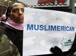 "Muslimerican.  A sign at the ""Today I AM Muslim, too"" rally in New York, March 2011"