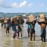One camp of Rohingya near Sittwe in Rakhine State in Myanmar can only be accessed by sea with boats transporting vital aid supplies such as rice and cooking oil. >Photo by Mathias Eick, EU/ECHO/Flickr