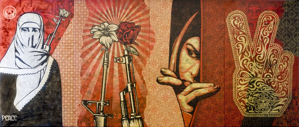 Middle East! Turn around and look East! (Obey Middle East Mural-Shepard Fairey)