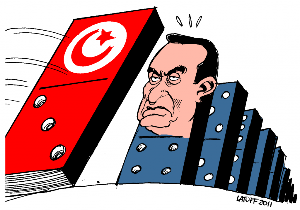 political cartoon by Carlos Latuff depicting President of Egypt Hosni Mubarak facing the Tunisian knock-on domino effect