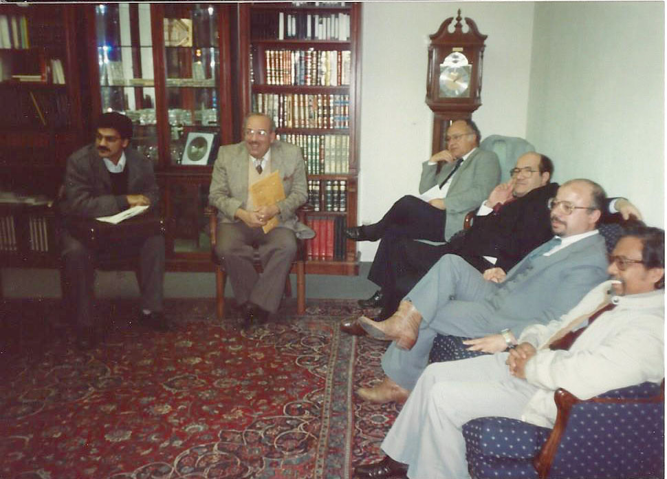 A meeting at the Islamic Center of Southern California with Salam Al-Marayati (left) and Maher Hathout and other leaders
