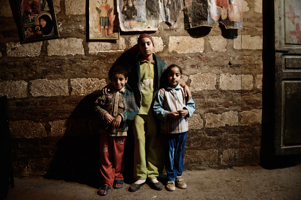 Son and daughters of of Hany Abdel-Messih, 32. Bakhoumis, 6 (left), Marina,12 (center) and Refka, 7 (right)