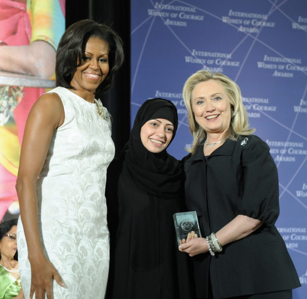 Samar Badawi with Hillary Rodham Clinton and Michelle Obama at 2012 IWOC Award