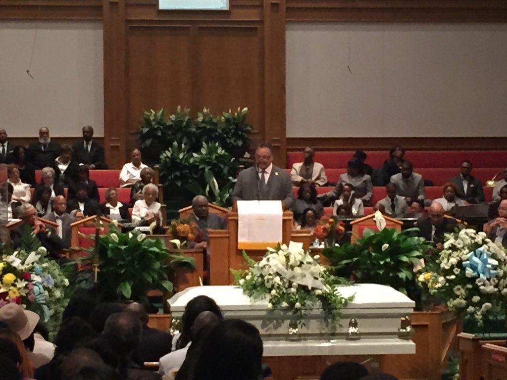 Rev. Jesse Jackson Jr. Speaks at Funeral service for Freddie Gray at New Shiloh Baptist Church.