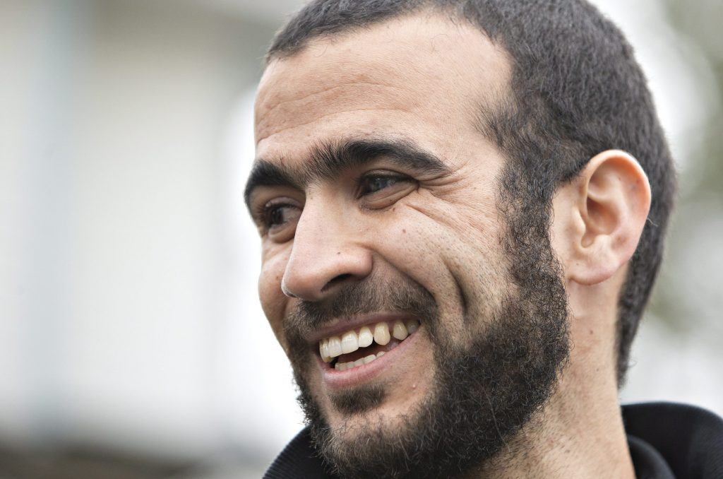 Omar Khadr speaks to media after being released on bail in Edmonton, Alta., on Thursday, May 7, 2015. After 13 years in prison the former Guantanamo Bay prisoner Omar Khadr is getting his first taste of freedom. (Jason Franson/The Canadian Press via AP) MANDATORY CREDIT