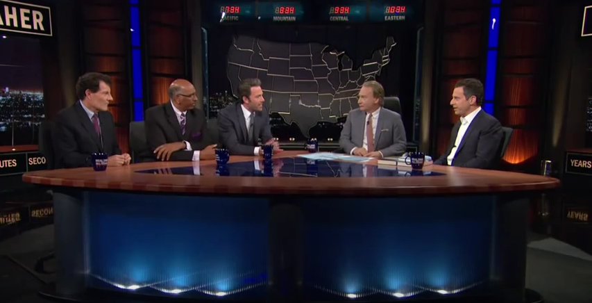 From left: Nicholas Kristof, Michael Steele, Ben Affleck, Bill Maher and Sam Harris. >YouTube/Real Time with Bill Maher, HBO