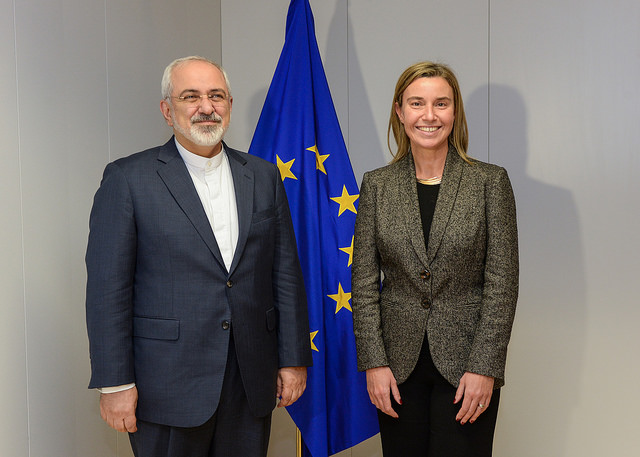 Iranian Foreign Minister Javad Zarif with Federica Mogherini, the Italian diplomat spearheading the European Union's foreign policy. >European External Action Service/Flickr