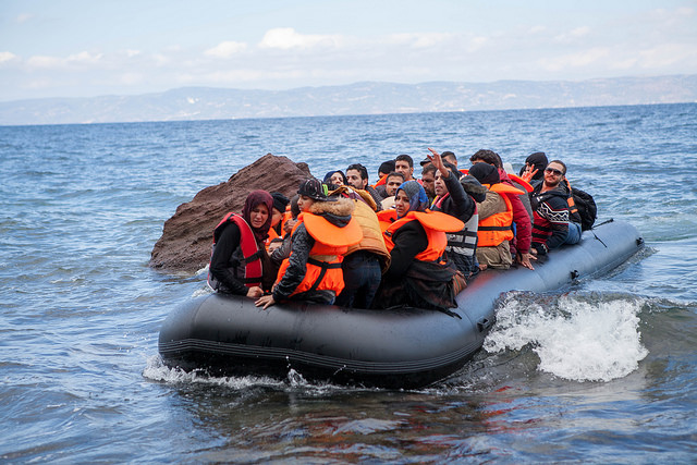 Refugees from Syria. They wouldn't put their own lives and the lives of their children at risk in feeble boats to cross the Mediterranean if they had any other choice. >Ben White/ CAFOD, October 2015/Flickr
