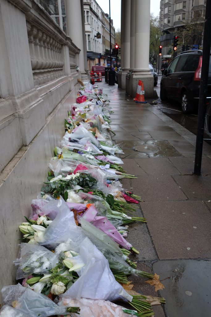 Flowers outside the French Embassy in London. >Christopher Jackson
