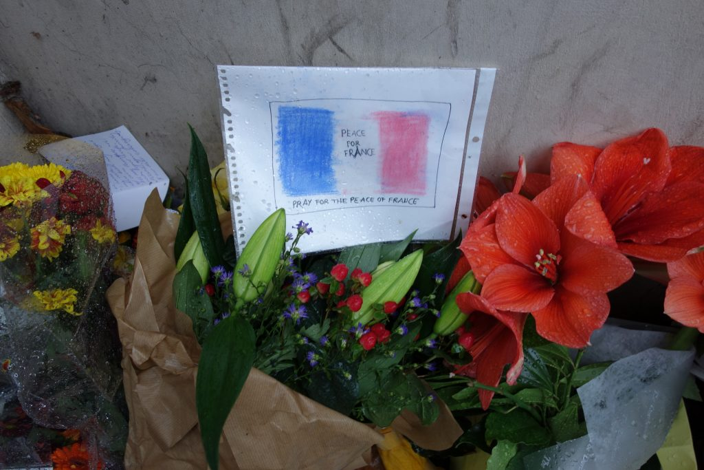 Flowers outside the French Embassy in London. >Chris Jackson
