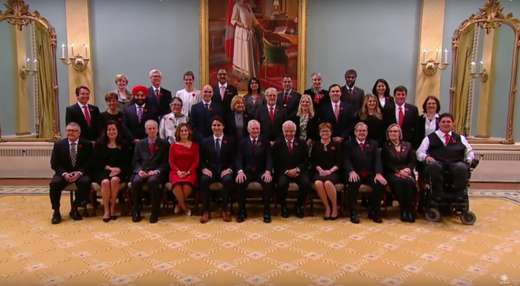 Canadian Prime Minister Justin Trudeau and his new Cabinet, which has equal representation of women and men, and is inclusive of individuals of different abilities, religions and ethnicities. >YouTube/CBC News