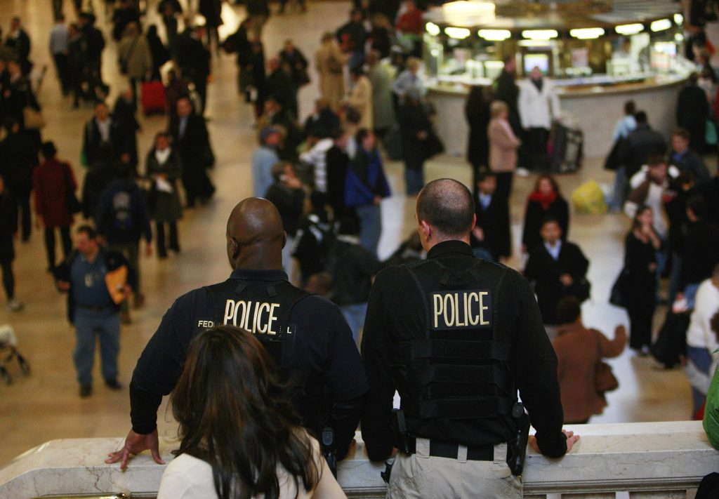 Police keep watch inside Grand Central Terminal the day before Thanksgiving in 2008 in New York City. Federal officials had alerted law enforcement personnel of a possible terror plot against the New York subway system during the holiday season. >iStock photo/Mario Tama