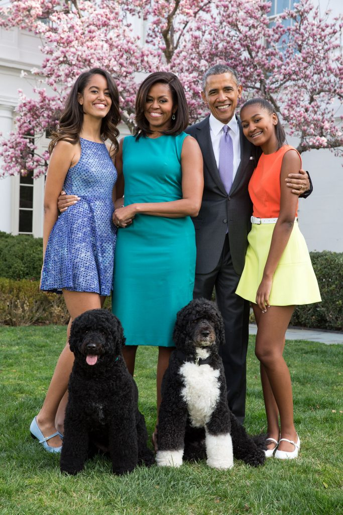 The Royal Family, from right to left: Empress Malia Ann, Valida Sultana Michelle Obama, President Obama and Caesarissa Natasha. >Flickr/IIP Photo Archive