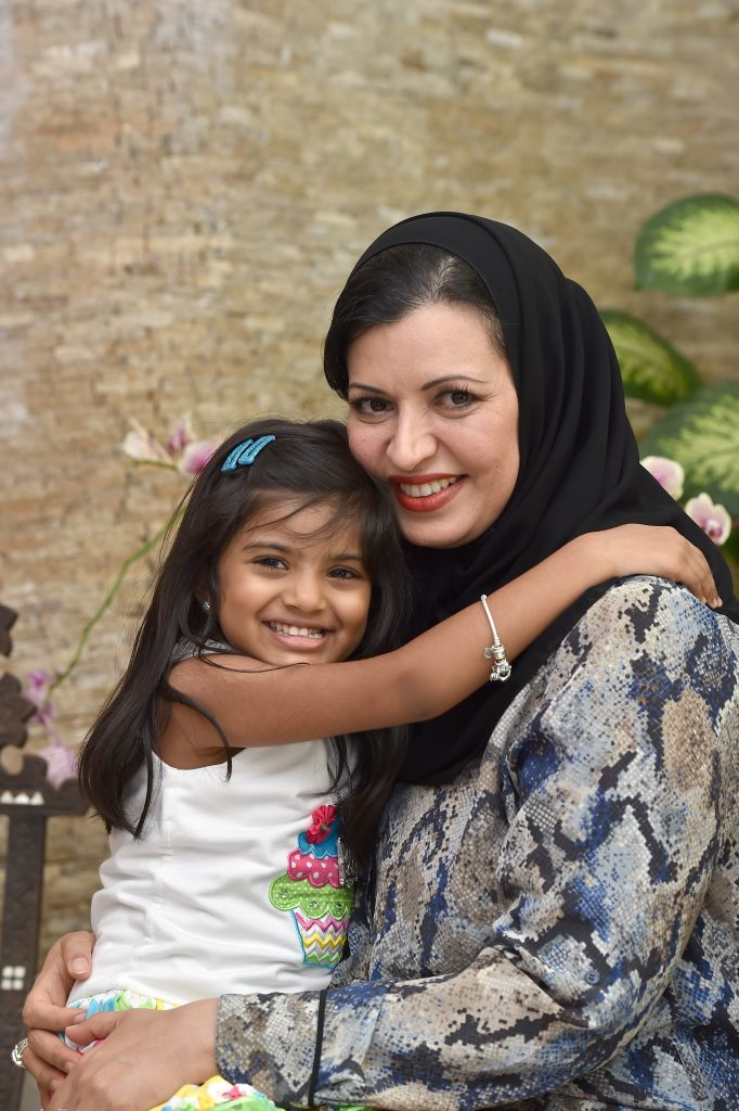Aysha Albusmait with her daughter Reem. >Photos by the author