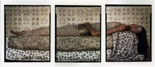 Lalla Essaydi, Bullets Revisited #3, 2012; Triptych, chromogenic prints on aluminum, 150 x 66 in.; Courtesy of the artist, Miller Yezerski Gallery, Boston, and Edwynn Houk Gallery, NYC
