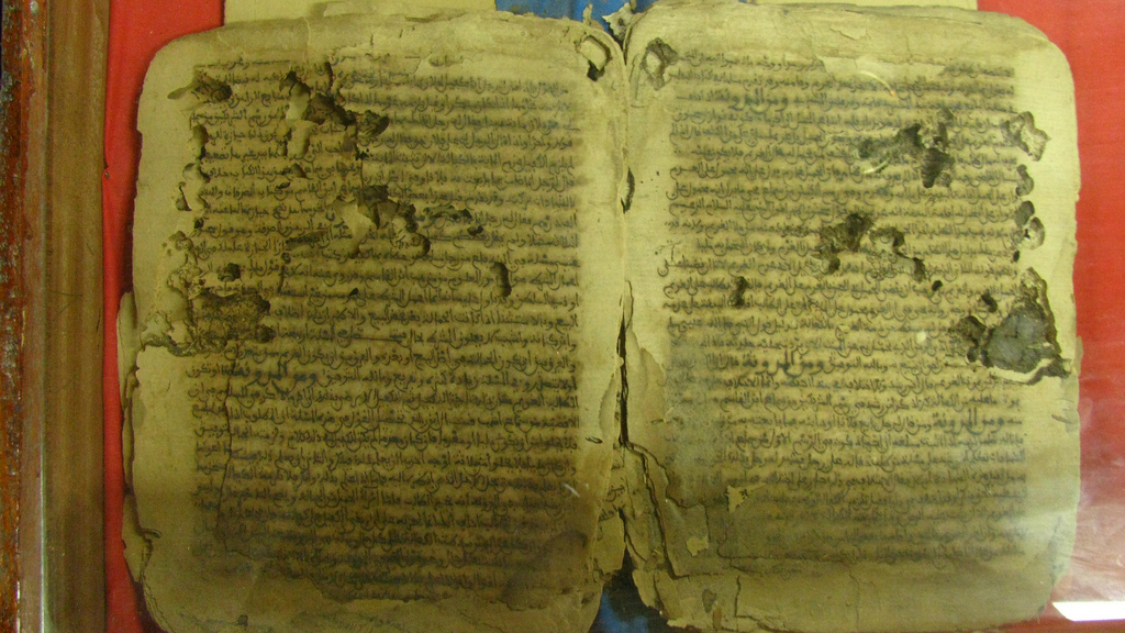 Caption: 16th-century manuscripts from Timbuktu. Credit: Leslie Lewis Flickr Link: https://flic.kr/p/9hv7Lq
