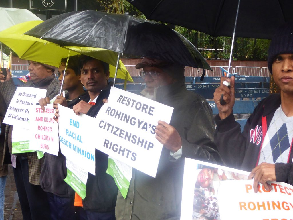 Recently arrived Rohingya refugees protest in front of the United Nations in 2015 calling for justice for their people.