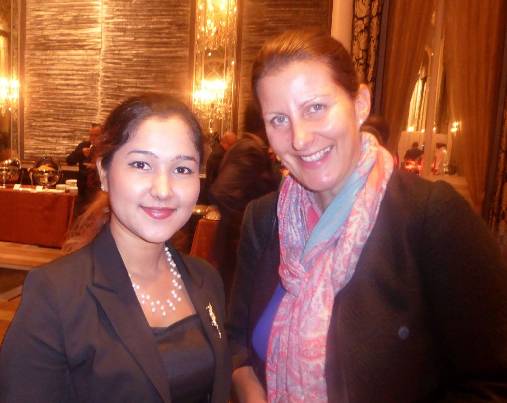 Wai Wai Nu with Nicole Bjerler of Amnesty International.