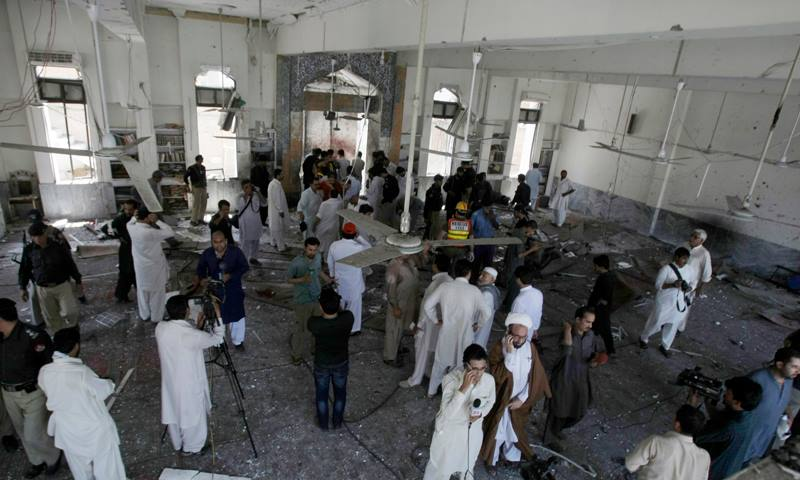 The mosque is left devastated after it was attacked by a suicide bomber during Friday prayers in Peshawar, Pakistan. Photo Credit: Samar Abbas