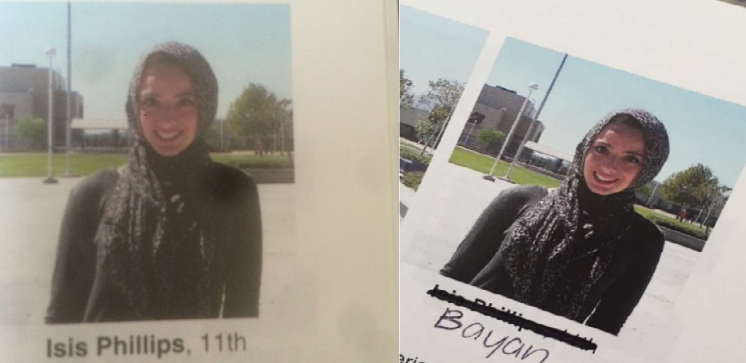 Students have begun to share photos correcting the error in the yearbook. Credit: Bayan Zehlif on Twitter, and Katarina Barbour on Twitter.