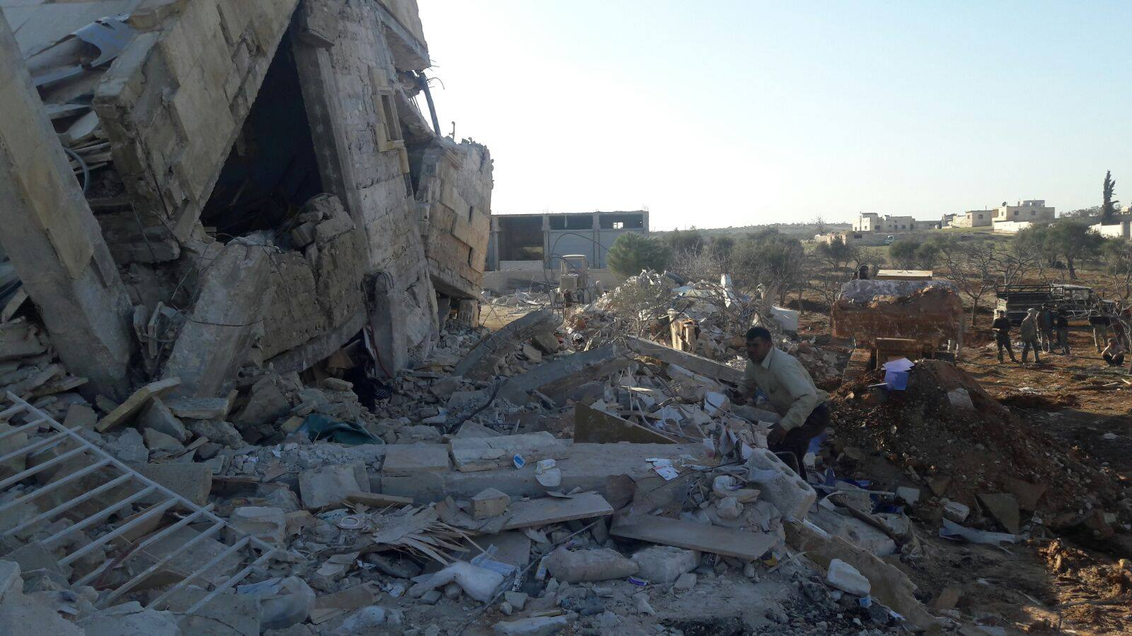 A destroyed Médecins Sans Frontières hospital in Idlib, Syria, one of three medical facilities attacked on Feb. 15, 2016 Credit: Dr. Abdulaziz