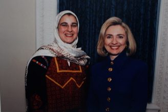 The author and Hillary Clinton >Photo courtesy of Manal Omar