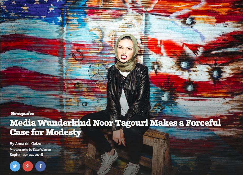 Noor Tagouri in Playboy magazine's Renegades feature.