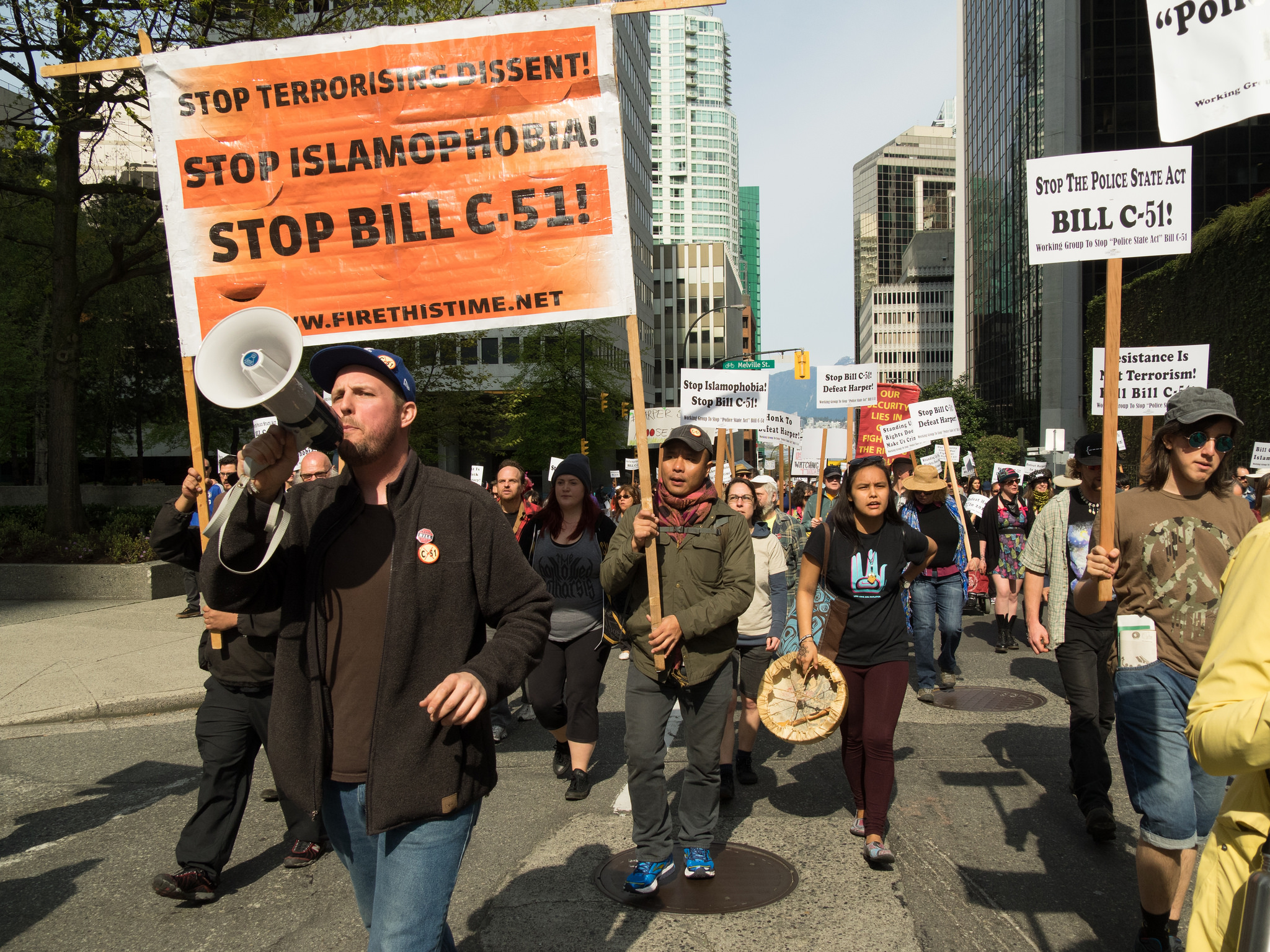 Protesters of Bill C-51 in Vancouver in 2015. >Flickr/Sally T. Buck