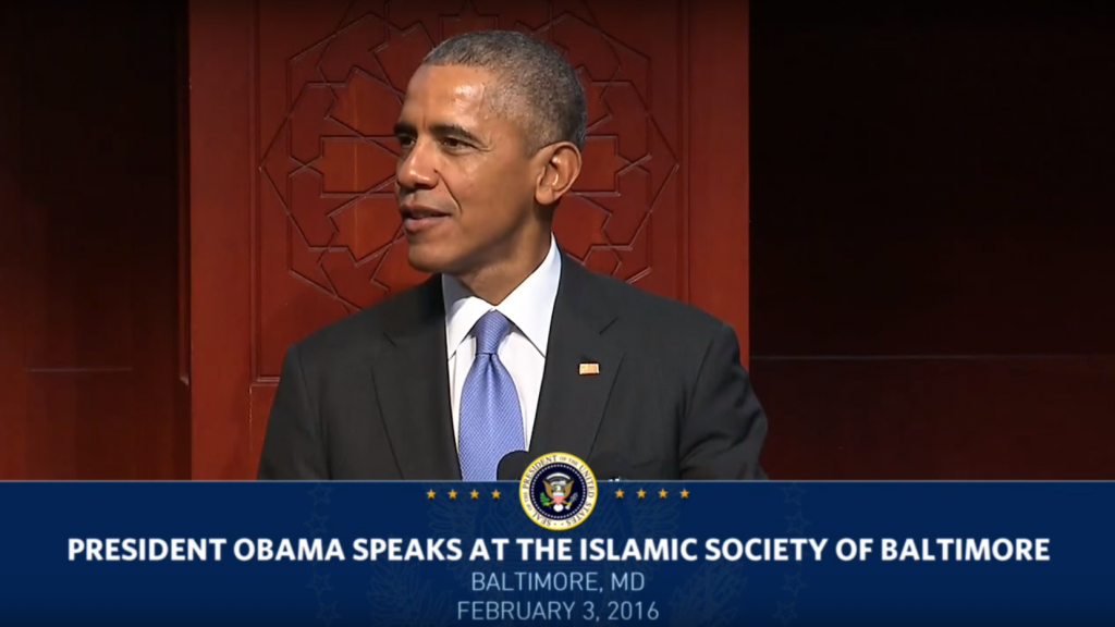 Obama at the Islamic Society of Baltimore in February.